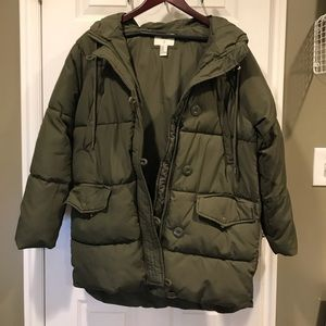 Forever 21 - puffy olive green winter coat